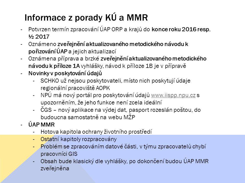 Informace z porady KÚ a MMR -Potvrzen termín zpracování ÚAP ORP a krajů do konce roku 2016 resp. ½ 2017 -Oznámeno zveřejnění aktualizovaného metodické