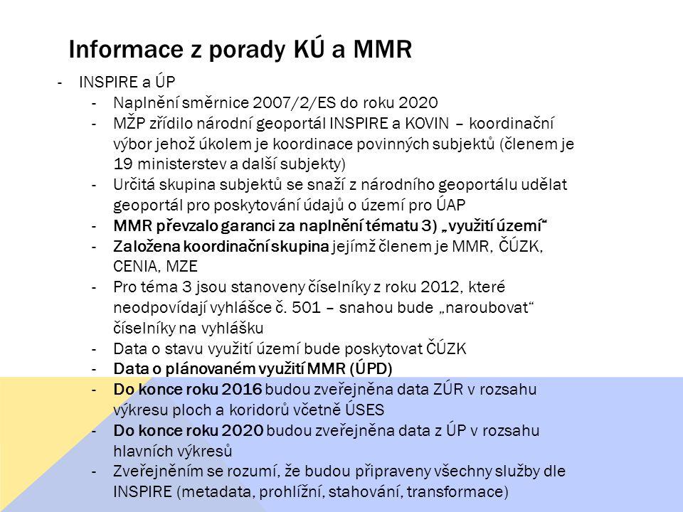 Informace z porady KÚ a MMR -INSPIRE a ÚP -Naplnění směrnice 2007/2/ES do roku 2020 -MŽP zřídilo národní geoportál INSPIRE a KOVIN – koordinační výbor