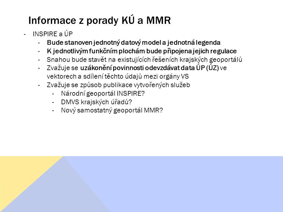 Informace z porady KÚ a MMR -INSPIRE a ÚP -Bude stanoven jednotný datový model a jednotná legenda -K jednotlivým funkčním plochám bude připojena jejich regulace -Snahou bude stavět na existujících řešeních krajských geoportálů -Zvažuje se uzákonění povinnosti odevzdávat data ÚP (ÚZ) ve vektorech a sdílení těchto údajů mezi orgány VS -Zvažuje se způsob publikace vytvořených služeb -Národní geoportál INSPIRE.