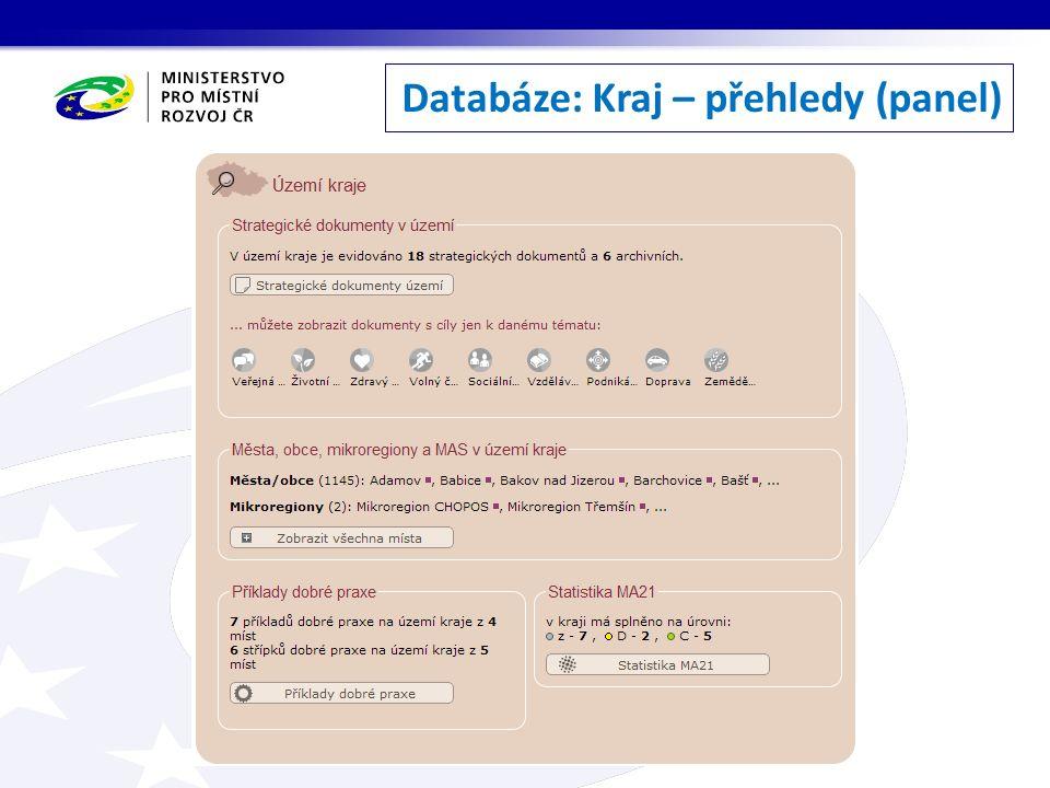 Databáze: Kraj – přehledy (panel)