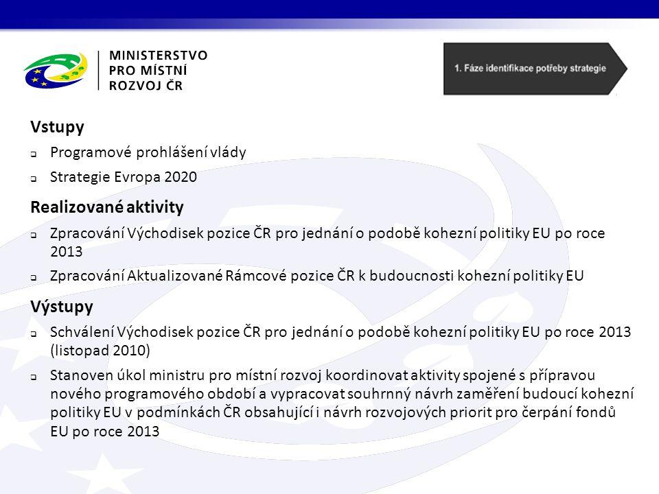 Vstupy  Programové prohlášení vlády  Strategie Evropa 2020 Realizované aktivity  Zpracování Východisek pozice ČR pro jednání o podobě kohezní politiky EU po roce 2013  Zpracování Aktualizované Rámcové pozice ČR k budoucnosti kohezní politiky EU Výstupy  Schválení Východisek pozice ČR pro jednání o podobě kohezní politiky EU po roce 2013 (listopad 2010)  Stanoven úkol ministru pro místní rozvoj koordinovat aktivity spojené s přípravou nového programového období a vypracovat souhrnný návrh zaměření budoucí kohezní politiky EU v podmínkách ČR obsahující i návrh rozvojových priorit pro čerpání fondů EU po roce 2013