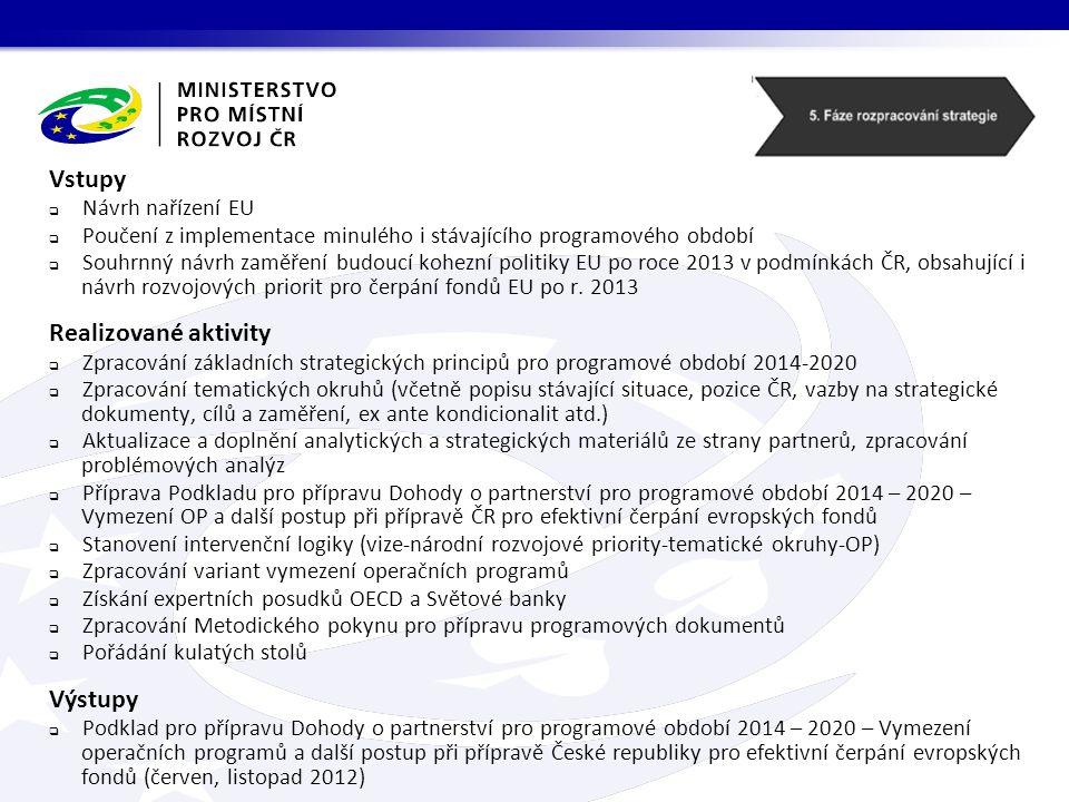 Vstupy  Návrh nařízení EU  Poučení z implementace minulého i stávajícího programového období  Souhrnný návrh zaměření budoucí kohezní politiky EU po roce 2013 v podmínkách ČR, obsahující i návrh rozvojových priorit pro čerpání fondů EU po r.