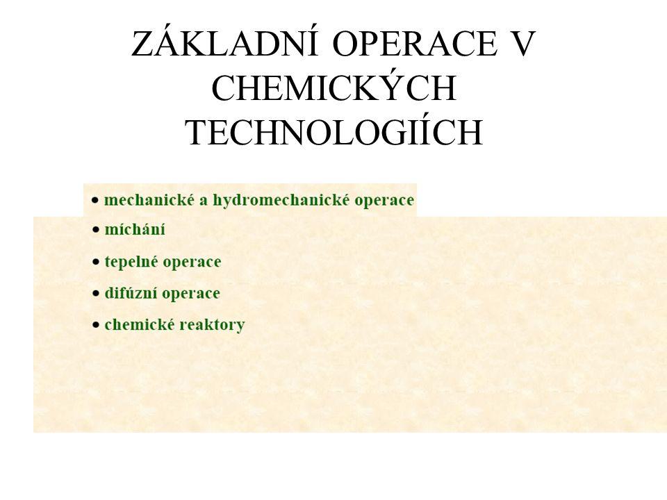 ZÁKLADNÍ OPERACE V CHEMICKÝCH TECHNOLOGIÍCH
