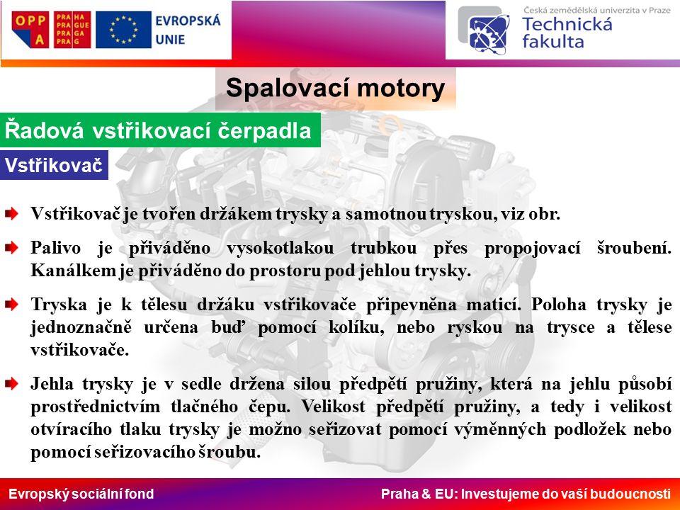 Evropský sociální fond Praha & EU: Investujeme do vaší budoucnosti Spalovací motory Řadová vstřikovací čerpadla Vstřikovač Vstřikovač je tvořen držákem trysky a samotnou tryskou, viz obr.