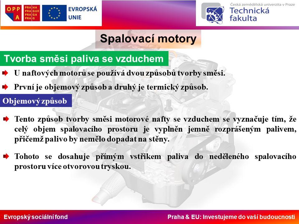 Evropský sociální fond Praha & EU: Investujeme do vaší budoucnosti Spalovací motory Tvorba směsi paliva se vzduchem U naftových motorů se používá dvou způsobů tvorby směsi.