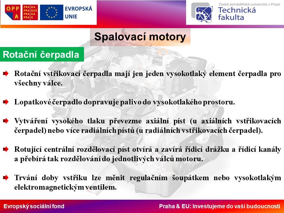 Evropský sociální fond Praha & EU: Investujeme do vaší budoucnosti Spalovací motory Rotační čerpadla Rotační vstřikovací čerpadla mají jen jeden vysokotlaký element čerpadla pro všechny válce.