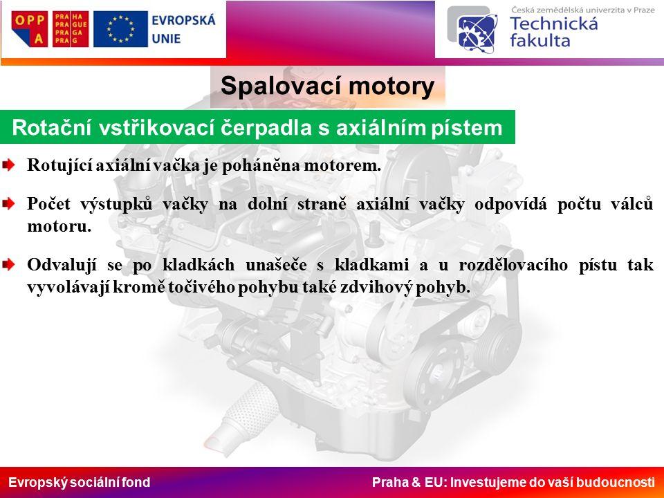 Evropský sociální fond Praha & EU: Investujeme do vaší budoucnosti Spalovací motory Rotační vstřikovací čerpadla s axiálním pístem Rotující axiální vačka je poháněna motorem.