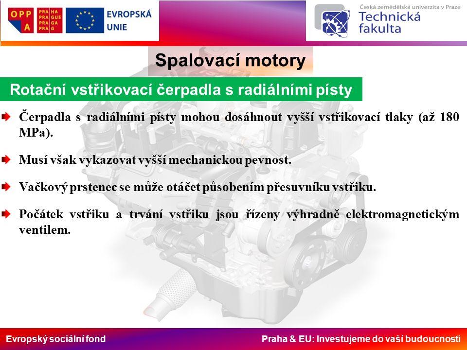 Evropský sociální fond Praha & EU: Investujeme do vaší budoucnosti Spalovací motory Rotační vstřikovací čerpadla s radiálními písty Čerpadla s radiálními písty mohou dosáhnout vyšší vstřikovací tlaky (až 180 MPa).