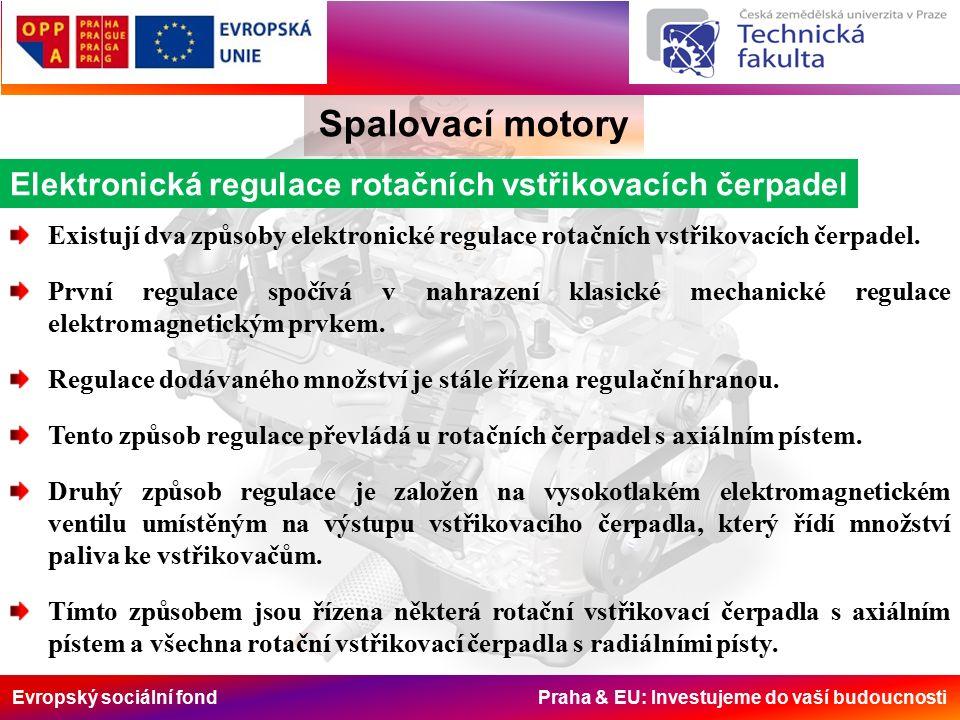Evropský sociální fond Praha & EU: Investujeme do vaší budoucnosti Spalovací motory Elektronická regulace rotačních vstřikovacích čerpadel Existují dva způsoby elektronické regulace rotačních vstřikovacích čerpadel.