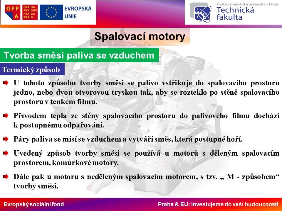 Evropský sociální fond Praha & EU: Investujeme do vaší budoucnosti Spalovací motory Piezoelektrický vstřikovač inline 1-zpětné palivové potrubí 2-vysokotlaká přípojka 3-piezoelektrický regulační modul 4-hydraulický vazební člen (převodník) 5-servoventil (řídicí ventil) 6-modul trysky s jehlou trysky 7-vstřikovací otvor