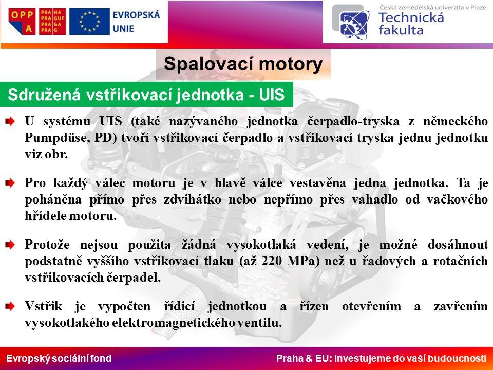 Evropský sociální fond Praha & EU: Investujeme do vaší budoucnosti Spalovací motory Sdružená vstřikovací jednotka - UIS U systému UIS (také nazývaného jednotka čerpadlo-tryska z německého Pumpdüse, PD) tvoří vstřikovací čerpadlo a vstřikovací tryska jednu jednotku viz obr.