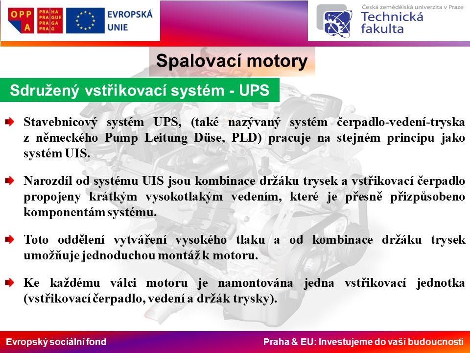 Evropský sociální fond Praha & EU: Investujeme do vaší budoucnosti Spalovací motory Sdružený vstřikovací systém - UPS Stavebnicový systém UPS, (také nazývaný systém čerpadlo-vedení-tryska z německého Pump Leitung Düse, PLD) pracuje na stejném principu jako systém UIS.