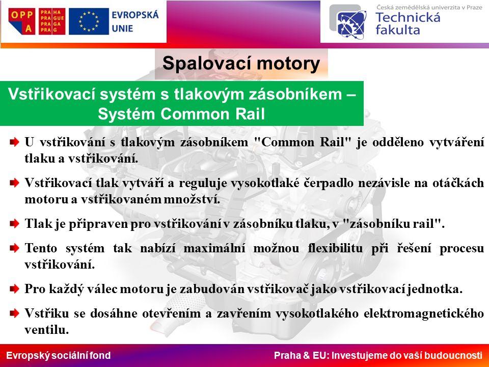 Evropský sociální fond Praha & EU: Investujeme do vaší budoucnosti Spalovací motory Vstřikovací systém s tlakovým zásobníkem – Systém Common Rail U vstřikování s tlakovým zásobníkem Common Rail je odděleno vytváření tlaku a vstřikování.