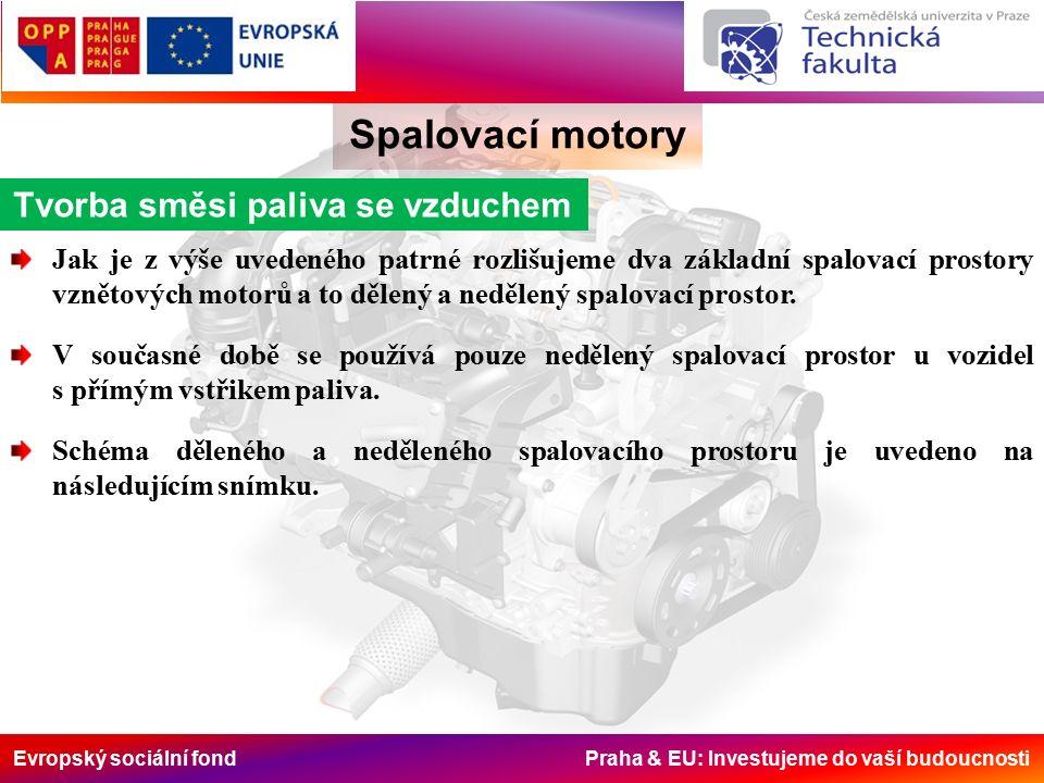 Evropský sociální fond Praha & EU: Investujeme do vaší budoucnosti Spalovací motory Tvorba směsi paliva se vzduchem Jak je z výše uvedeného patrné rozlišujeme dva základní spalovací prostory vznětových motorů a to dělený a nedělený spalovací prostor.