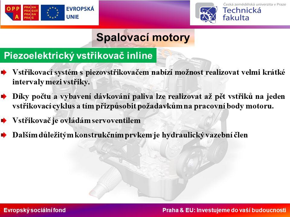 Evropský sociální fond Praha & EU: Investujeme do vaší budoucnosti Spalovací motory Piezoelektrický vstřikovač inline Vstřikovací systém s piezovstřikovačem nabízí možnost realizovat velmi krátké intervaly mezi vstřiky.