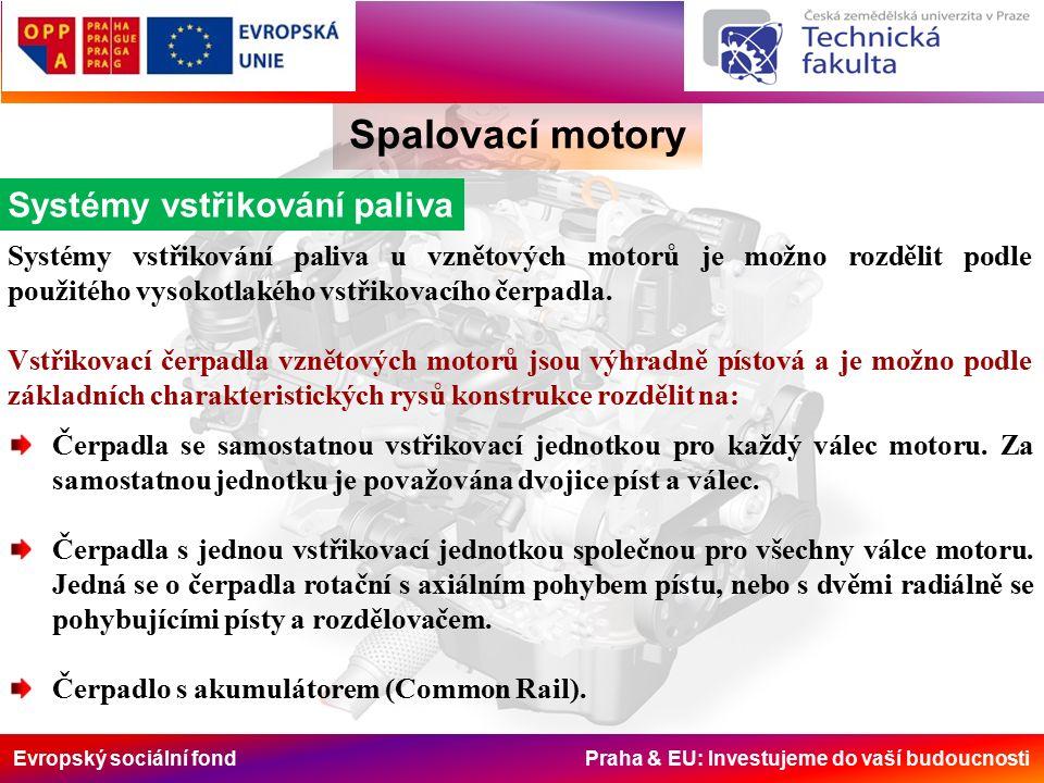 Evropský sociální fond Praha & EU: Investujeme do vaší budoucnosti Spalovací motory Systémy vstřikování paliva Čerpadla bloková (řadová), kdy vstřikovací jednotky jsou soustředěny do jednoho bloku a pohyb pístků je ovládán vlastním vačkovým hřídelem čerpadla.