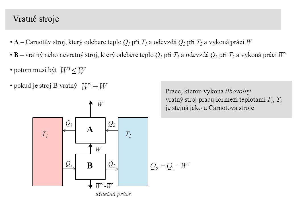 Vratné stroje A – Carnotův stroj, který odebere teplo Q 1 při T 1 a odevzdá Q 2 při T 2 a vykoná práci W B – vratný nebo nevratný stroj, který odebere teplo Q 1 při T 1 a odevzdá Q 2 při T 2 a vykoná práci W' T1T1 T2T2 W Q1Q1 Q2Q2 A B W' -W Q1Q1 W užitečná práce Q2Q2 potom musí být pokud je stroj B vratný Práce, kterou vykoná libovolný vratný stroj pracující mezi teplotami T 1, T 2 je stejná jako u Carnotova stroje