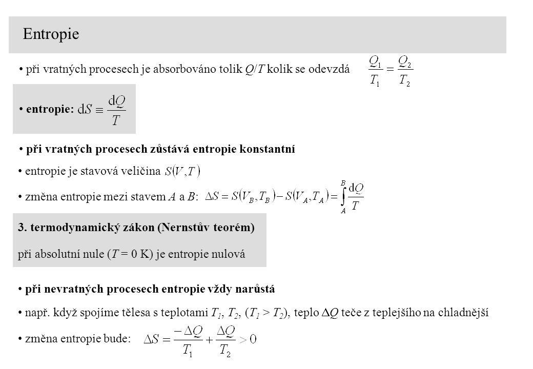 Entropie při vratných procesech je absorbováno tolik Q/T kolik se odevzdá entropie: při vratných procesech zůstává entropie konstantní změna entropie mezi stavem A a B: entropie je stavová veličina při absolutní nule (T = 0 K) je entropie nulová 3.