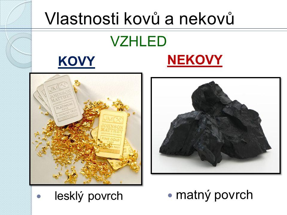 Vlastnosti kovů a nekovů KOVY lesklý povrch NEKOVY matný povrch VZHLED