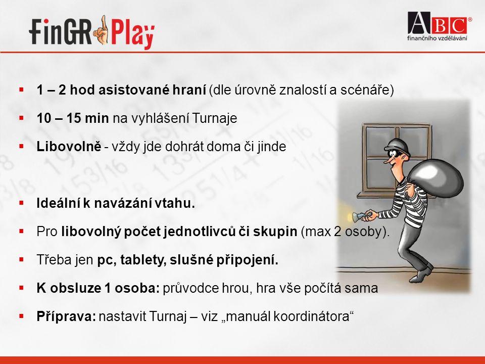  1 – 2 hod asistované hraní (dle úrovně znalostí a scénáře)  10 – 15 min na vyhlášení Turnaje  Libovolně - vždy jde dohrát doma či jinde  Ideální k navázání vtahu.