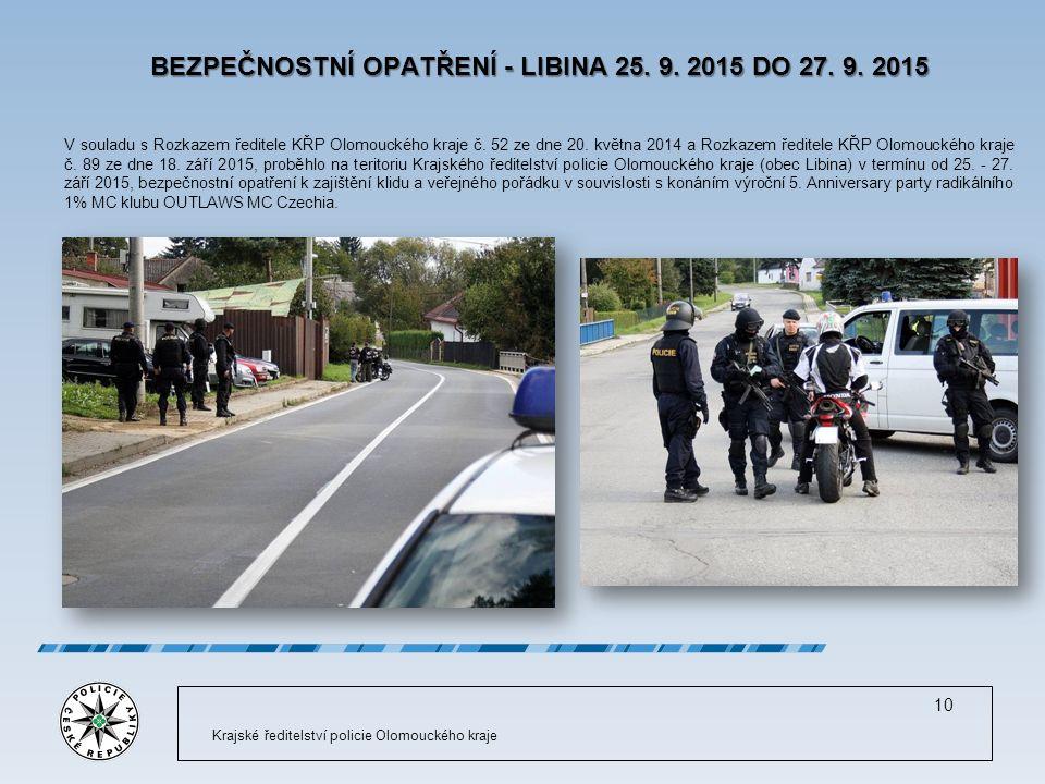 BEZPEČNOSTNÍ OPATŘENÍ - LIBINA 25. 9. 2015 DO 27.