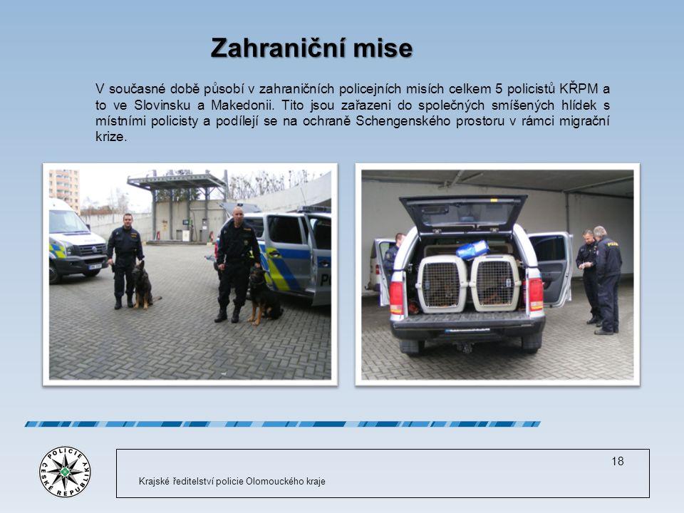 Zahraniční mise V současné době působí v zahraničních policejních misích celkem 5 policistů KŘPM a to ve Slovinsku a Makedonii.