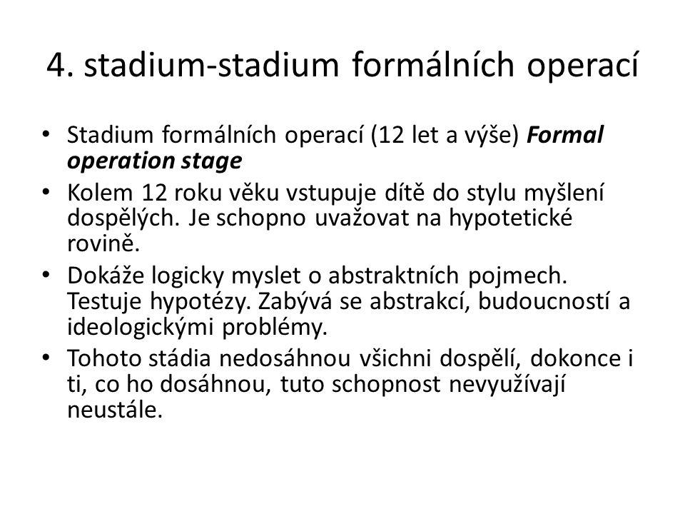 4. stadium-stadium formálních operací Stadium formálních operací (12 let a výše) Formal operation stage Kolem 12 roku věku vstupuje dítě do stylu myšl