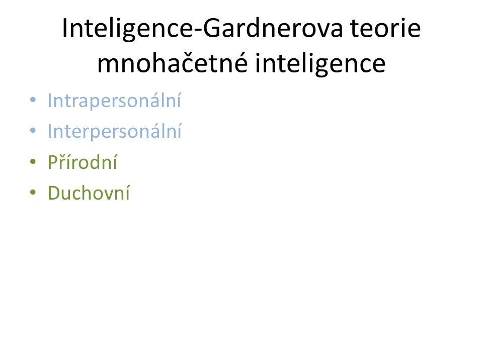 Inteligence-Gardnerova teorie mnohačetné inteligence Intrapersonální Interpersonální Přírodní Duchovní