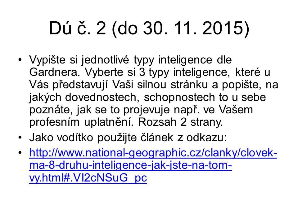 Dú č. 2 (do 30. 11. 2015) Vypište si jednotlivé typy inteligence dle Gardnera.