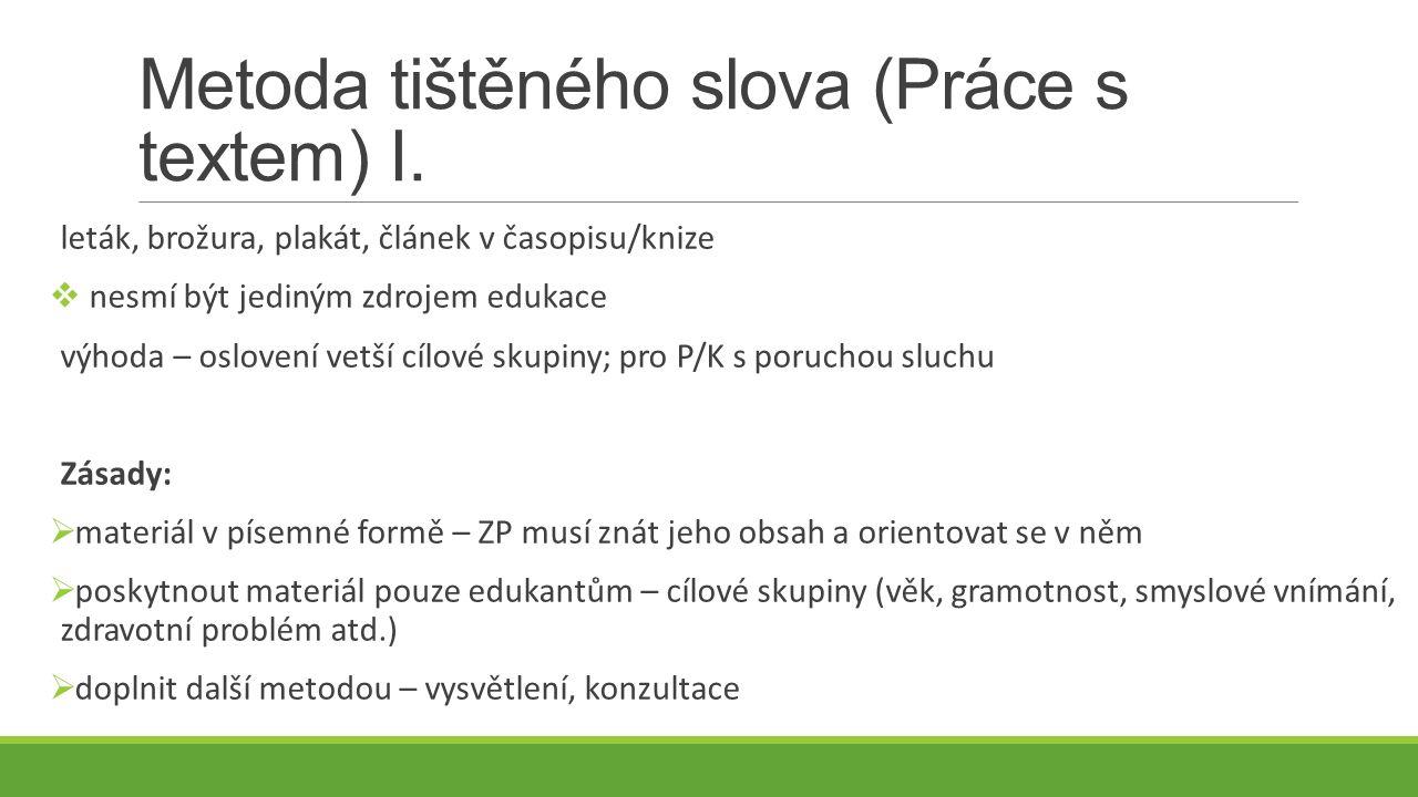 Metoda tištěného slova (Práce s textem) I.