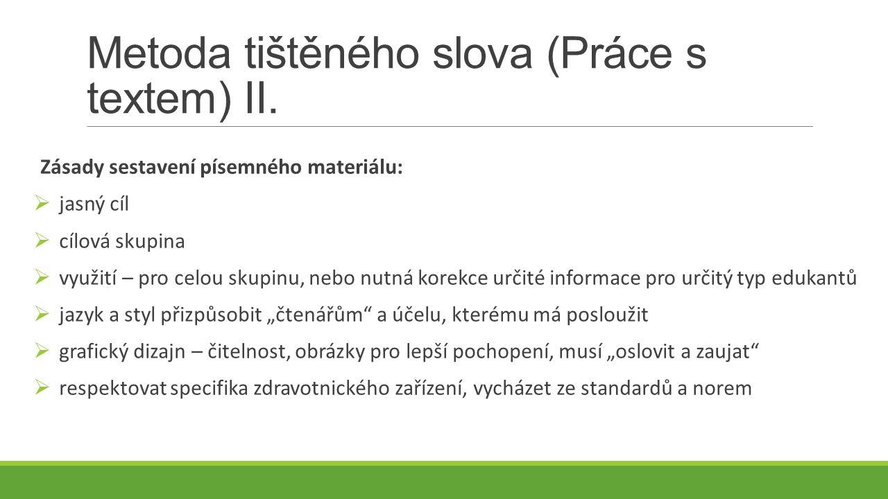 Metoda tištěného slova (Práce s textem) II.