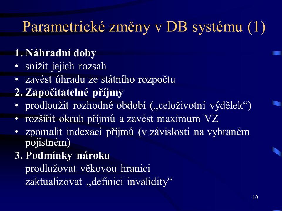 10 Parametrické změny v DB systému (1) 1.