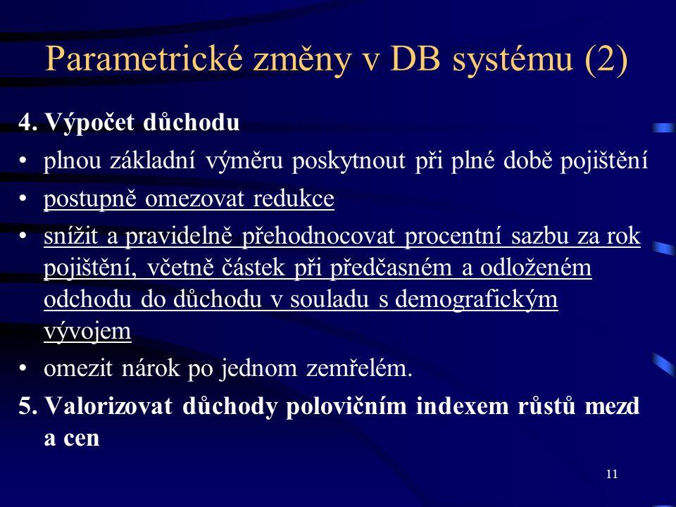 11 Parametrické změny v DB systému (2) 4.
