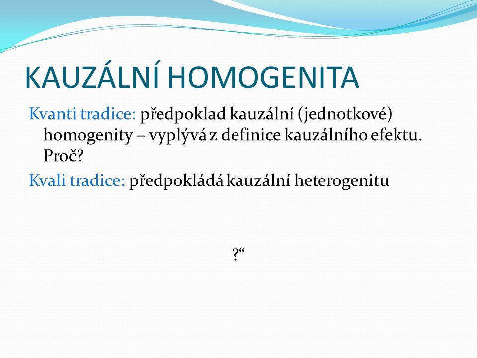 KAUZÁLNÍ HOMOGENITA Kvanti tradice: předpoklad kauzální (jednotkové) homogenity – vyplývá z definice kauzálního efektu.