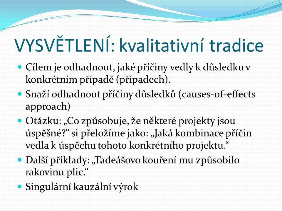 VYSVĚTLENÍ: kvalitativní tradice Cílem je odhadnout, jaké příčiny vedly k důsledku v konkrétním případě (případech).