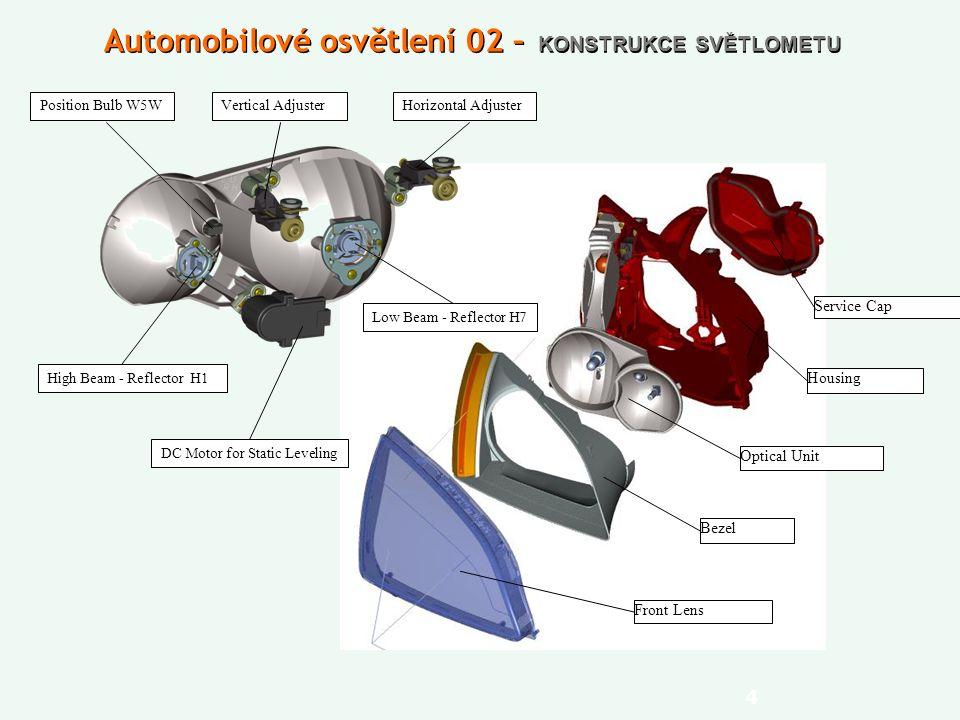 4 Automobilové osvětlení 02 – KONSTRUKCE SVĚTLOMETU Bezel Optical Unit Housing Service Cap Front Lens Position Bulb W5W DC Motor for Static Leveling High Beam - Reflector H1 Vertical Adjuster Low Beam - Reflector H7 Horizontal Adjuster