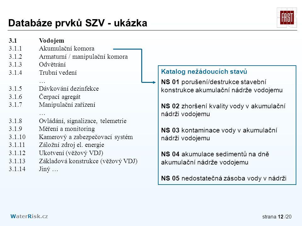 WaterRisk.cz strana 12 /20 3.1 Vodojem 3.1.1Akumulační komora 3.1.2Armaturní / manipulační komora 3.1.3Odvětrání 3.1.4Trubní vedení … 3.1.5Dávkování dezinfekce 3.1.6Čerpací agregát 3.1.7Manipulační zařízení … 3.1.8Ovládání, signalizace, telemetrie 3.1.9Měření a monitoring 3.1.10Kamerový a zabezpečovací systém 3.1.11Záložní zdroj el.