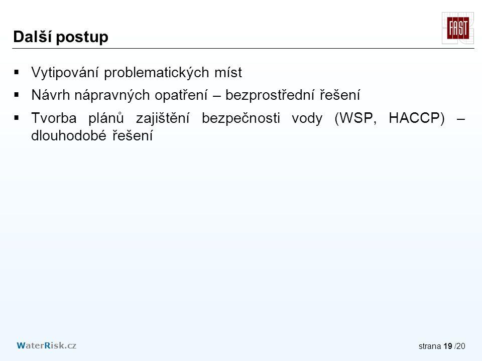 WaterRisk.cz strana 19 /20 Další postup  Vytipování problematických míst  Návrh nápravných opatření – bezprostřední řešení  Tvorba plánů zajištění bezpečnosti vody (WSP, HACCP) – dlouhodobé řešení