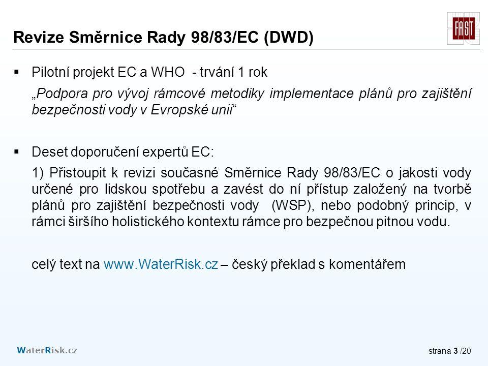 """WaterRisk.cz strana 3 /20 Revize Směrnice Rady 98/83/EC (DWD)  Pilotní projekt EC a WHO - trvání 1 rok """"Podpora pro vývoj rámcové metodiky implementace plánů pro zajištění bezpečnosti vody v Evropské unii  Deset doporučení expertů EC: 1) Přistoupit k revizi současné Směrnice Rady 98/83/EC o jakosti vody určené pro lidskou spotřebu a zavést do ní přístup založený na tvorbě plánů pro zajištění bezpečnosti vody (WSP), nebo podobný princip, v rámci širšího holistického kontextu rámce pro bezpečnou pitnou vodu."""