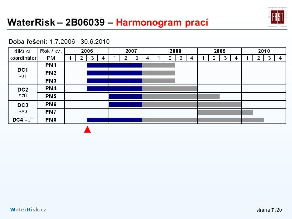 WaterRisk.cz strana 7 /20 WaterRisk – 2B06039 – Harmonogram prací Doba řešení: 1.7.2006 - 30.6.2010