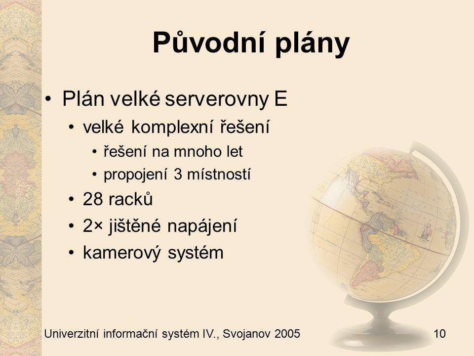 10 Univerzitní informační systém IV., Svojanov 2005 Původní plány Plán velké serverovny E velké komplexní řešení řešení na mnoho let propojení 3 místností 28 racků 2× jištěné napájení kamerový systém