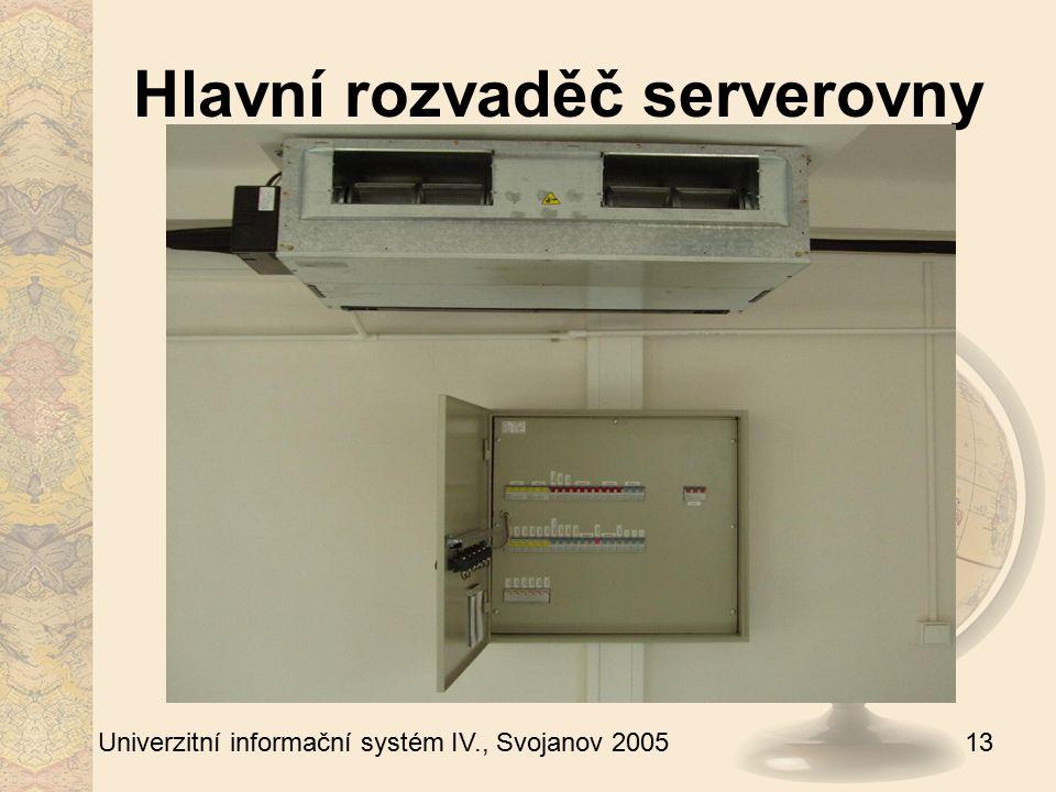 13 Univerzitní informační systém IV., Svojanov 2005 Hlavní rozvaděč serverovny