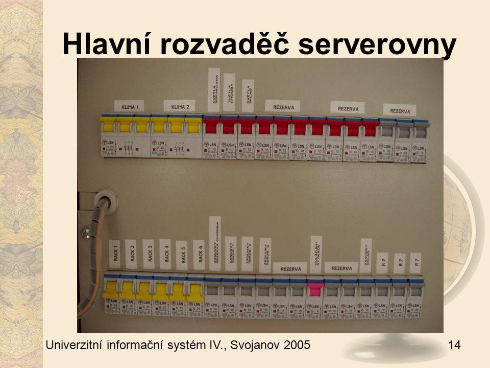 14 Univerzitní informační systém IV., Svojanov 2005 Hlavní rozvaděč serverovny