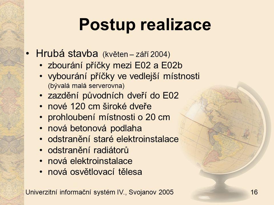 16 Univerzitní informační systém IV., Svojanov 2005 Postup realizace Hrubá stavba (květen – září 2004) zbourání příčky mezi E02 a E02b vybourání příčk