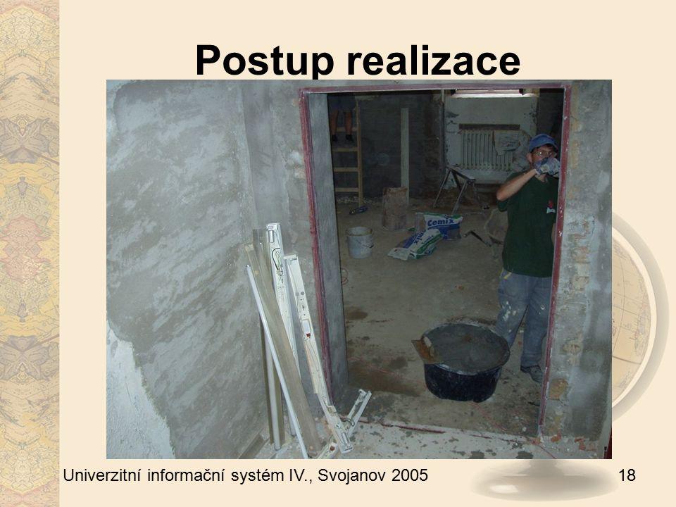 18 Univerzitní informační systém IV., Svojanov 2005 Postup realizace