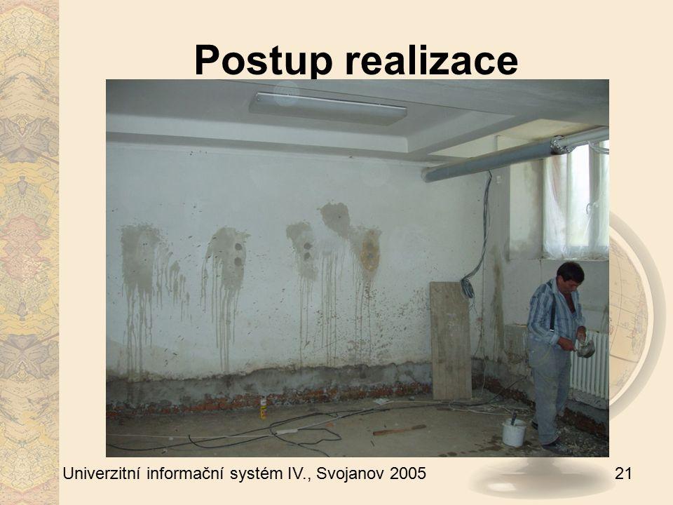 21 Univerzitní informační systém IV., Svojanov 2005 Postup realizace
