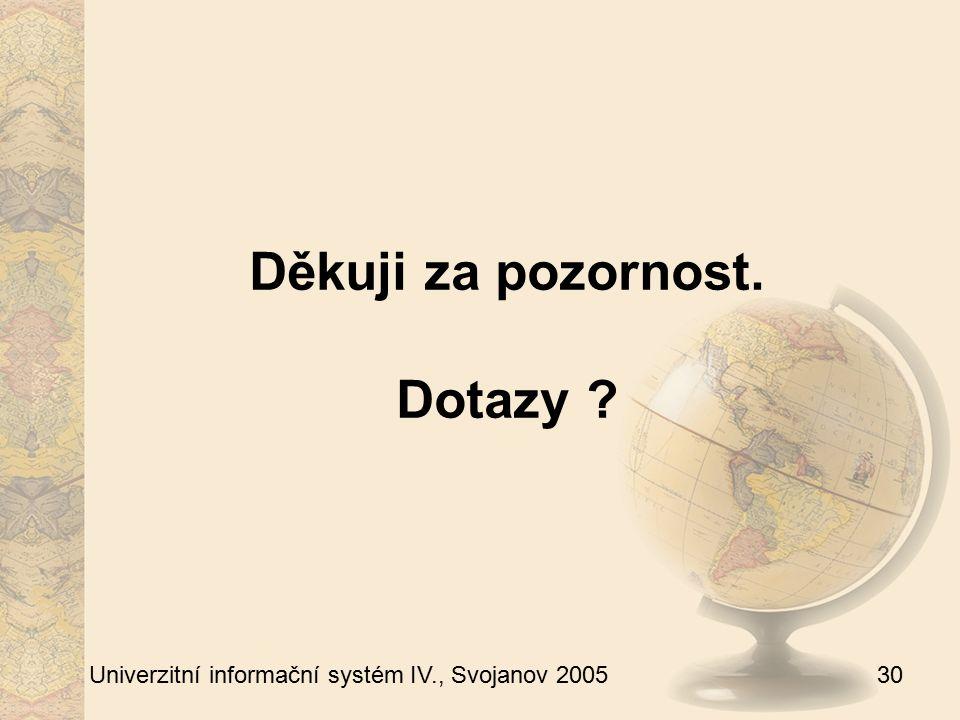 30 Univerzitní informační systém IV., Svojanov 2005 Děkuji za pozornost. Dotazy ?