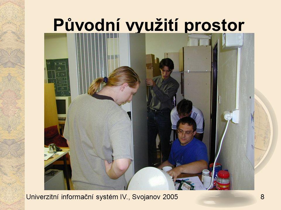 9 Univerzitní informační systém IV., Svojanov 2005 Alternativy stavby Rozšíření serverovny Q (nedostatečné) Zřízení malé serverovny v garážích Q Serverovna A Projekt velké serverovny N nejistá realizace v roce 2008 aktuální akutní potřeba rychlého řešení