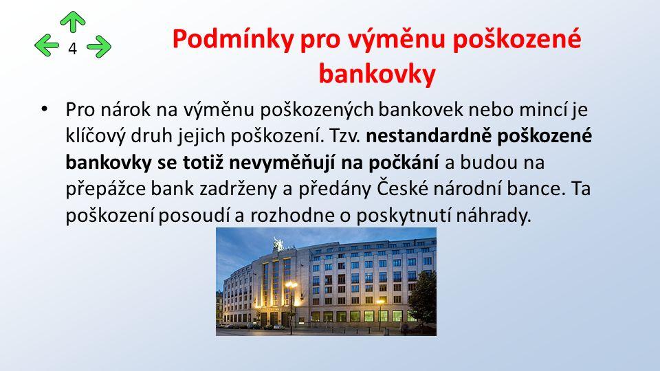 Standartně poškozená bankovka Bankovka opotřebená oběhem – pomačkaná, natržená Běžně poškozená bankovka - fyzická osoba může přijetí takové bankovky odmítnout.