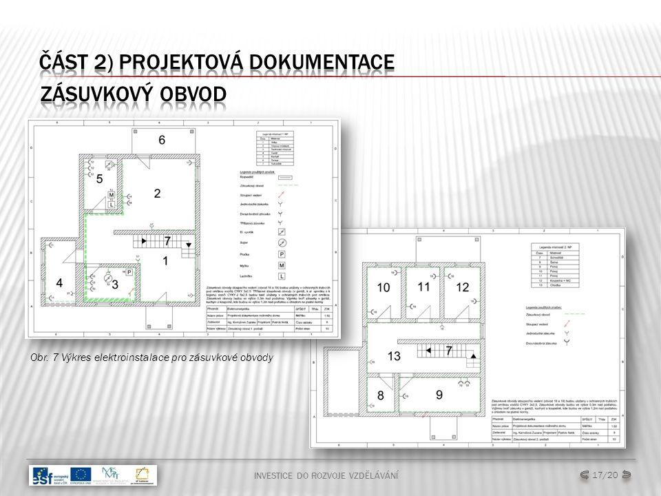INVESTICE DO ROZVOJE VZDĚLÁVÁNÍ 17/20 Obr. 7 Výkres elektroinstalace pro zásuvkové obvody